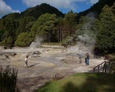 Vale das Furnas. The valley where the parish of Furnas lies features more than twenty thermal springs in an area filled with fumaroles and hot springs. The atmosphere is almost phantasmagorical, with smoke emerging from every corner of the parish. Next to the crater lake, it is possible to cook the traditional Cozido nas Caldeiras by placing a pot under the earth.  Sao Miguel, Azores.