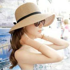 2013 Classical Simple Design Wide Brim Summer Straw Hat For Women Floppy Sun Cap Free Shipping 80488 $5.55