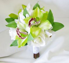 Wedding Natural Touch Green Cymbidium Orchids and White Roses Silk Flower Bride Bouquet - Almost Fresh