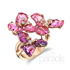 Blooms of tumbled sapphires and diamonds in 18K rose gold. BD3651 by Parade Design.