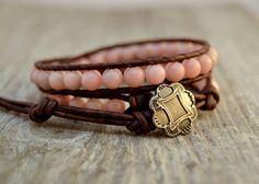 Pink wrap bracelet Rustic romantic beaded bracelet by SinonaDesign, $36.00
