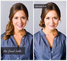 4.Pull back larger front section.   5.Wrap around elastic and secure with bobby pins. Repeat with smaller front section and spray all over.   6.For an alternate look, fold ponytail underneath to create a low bun, and secure with large bobby pins.