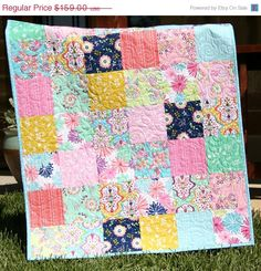 SALE Baby Girl Quilt, Floriography, Riley Blake Fabrics, Modern Designer Blanket, Nursery Crib Cot Bedding, Navy Blue Pink Mint Green Yellow on Etsy, $149.00