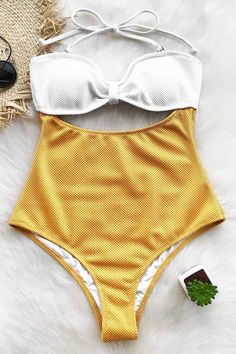Cupshe Comfort Your Heart Halter One-piece Swimsuit #Swimsuits #swimsuitsonepiece