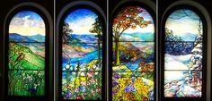 "Landscape Windows of the Four Seasons | L-R: ""Promise"" (Spring), ""Realization"" (Summer), ""Fulfillment"" (Autumn), ""Rest"" (Winter) | Tiffany Studios | Battell Chapel | Yale University, New Haven, Connectictut | Photo Credit: http://newenglandphotos.blogspot.com/2005/04/tiffany-windows-at-battell-chapel.html|"
