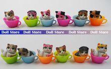 12pcs/lot 3cm mini kawaii cute pvc colorful Japan Teacup cat action figure set best kids toys for girls(China (Mainland))