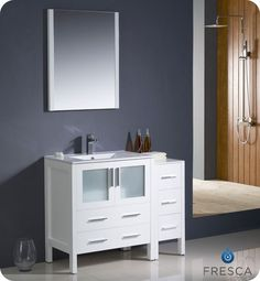Torino 42 Inch White Modern Bathroom Vanity With Side Cabinet And Undermount Sink