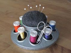 Chicken Feeder pin cushion/thread holder from $4 piece from the feed store.