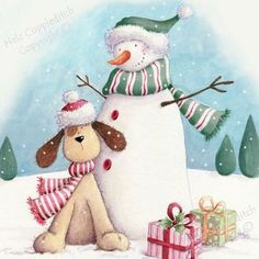 Snowman Doggy Illustration by Helz Cuppleditch Snowman Clipart, Christmas Clipart, Christmas Printables, Christmas Snowman, Christmas Crafts, Christmas Decorations, Christmas Ornaments, Christmas Scenes, Christmas Pictures