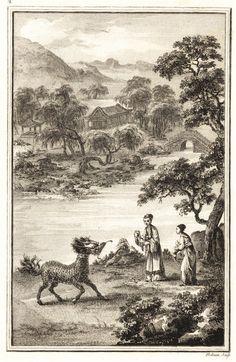 (麒麟口吐玉書) 據傳孔子出生前,有麒麟在他家的院子裏「口吐玉書」,書上寫道「水精之子,係衰周而素王」,影響到中國後來認為麒麟會給人們帶來兒子,使家族興旺,因此有麒麟送子之說,也把傑出的兒童稱為「麟兒」。 出處:《Abrégé historique des principaux traits de la vie de Confucius, célèbre philosophe chinois》 作者 Jean Joseph Marie Amiot(1718~1793),字若瑟,中文名:王若瑟,是一位法國漢學家,也是把《孫子兵法》介紹到歐洲的第一人,入華耶穌會士中最後一位大漢學家,致力於向歐洲介紹傳播中國的歷史、文化、科學,這本書即是向歐洲介紹孔子的一本傳記。