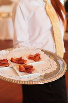 Now this is a true Southern girl serving #bacon at her wedding reception! Love it on the silver platter!