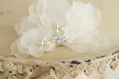 Bridal headpiece silk petals  pearl and by LamourDeLange on Etsy, $60.00