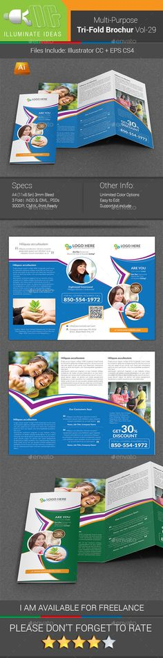 Multipurpose Business Tri-Fold Brochure Vol-29 - Corporate Brochure Template Vector EPS, Vector AI. Download here: http://graphicriver.net/item/multipurpose-business-trifold-brochure-vol29/11849817?s_rank=1757&ref=yinkira