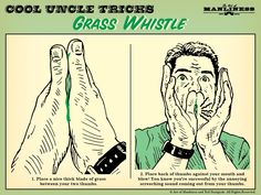 In this installment of Cool Uncle Tricks, we make an annoying and screeching grass whistle to entertain your nieces and nephews. Survival Life Hacks, Survival Prepping, Survival Skills, Survival Gear, Survival Quotes, Survival Books, Outdoor Survival, Survival Shelter, Emergency Preparedness