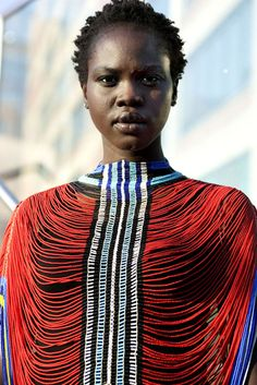 So beautiful! Traditional beaded shawl from the Dinka people. African Beauty, African Women, African Fashion, African Style, Black Is Beautiful, Beautiful People, Style Ethnique, African Jewelry, African Culture