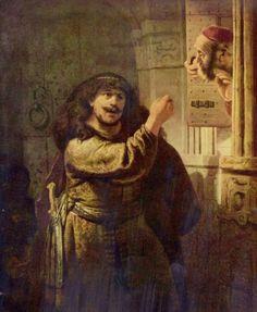 REMBRANDT.Sansón amenazando a su suegro