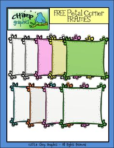"""I just LOVE these!!! FREE set of 9 clip art frames from Chirp Graphics for your creations! Blackline, black and white, and a variety of colours. 300 dpi with a transparent background....Follow for Free """"too-neat-not-to-keep"""" teaching tools & other fun stuff :)"""