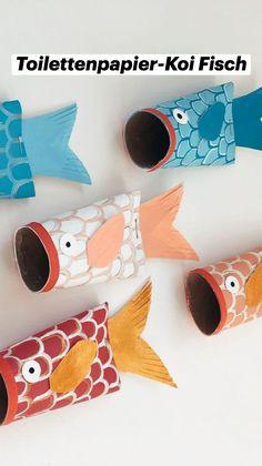 Ocean Crafts, Fish Crafts, Diy Crafts For Kids, Toilet Paper Art, Toilet Paper Roll Crafts, Art Activities For Kids, Toddler Activities, Craft Instructions For Kids, Diy Pour Enfants