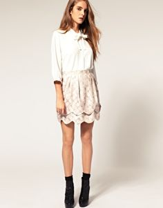 ASOS Scallop Mini Skirt In Printed Jacquard