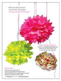 How to Make Tissue Paper Pom Pom Flowers Bloom Big-make in candy corn colors!                            !