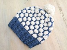 KNITTING PATTERN Snowball Beanie Winter Hat Lined Knit