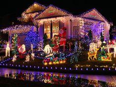 diy outdoor christmas decorations noel noel istock 14448247 colorful neon christmas light front yard s4x3jpgrendhgtvcom1280960