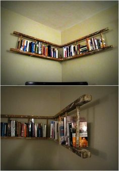 40 Wooden Ladder Repurposing Ideas That Add Farmhouse Charm To Your Home - DIY & Crafts Ladder Bookshelf, Corner Bookshelves, Attic Ladder, Old Wood Ladder, Wooden Ladders, Diy Home Crafts, Home Projects, Ladder Decor, Home Furniture