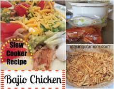 This Bajio Chicken slow cooker recipe makes a delicious salad, tostado or burrito. The seasoning makes the meat sweet and reminds me of Cafe Rio or Costa Vida.