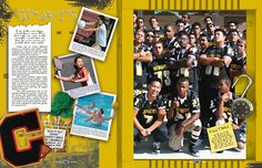 Sports layout for yearbook. Theme: Beyond All Limits...do polaroid pop-outs, so they're beyond the box :)