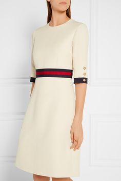 Gucci | Grosgrain-trimmed wool and silk-blend mini dress | NET-A-PORTER.COM