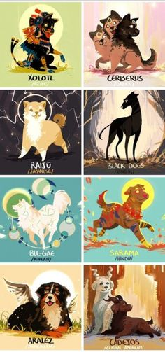 Mythical dogs - Funny And/Or Cute Creatures - Mythical Creatures Art, Mythological Creatures, Magical Creatures, Mystical Creatures Drawings, Mythological Monsters, Creature Drawings, Animal Drawings, Cool Drawings, Drawings Of Dogs