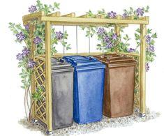 Mülltonnenversteck mit Kletterpflanzen