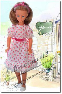 Vêtement poupée Cathie Bella ou Cathy Bella, Robe faite avec le patron original