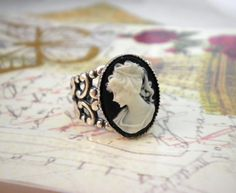 Victorian Cameo Ring With Lace Band.