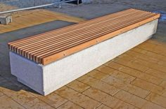 Public bench / contemporary / in wood / concrete SOCA Factory Street Furniture Urban Furniture, Street Furniture, Garden Furniture, Outdoor Furniture, Outdoor Decor, Wall Bench, Used Woodworking Tools, Woodworking Clamps, Woodworking Workshop