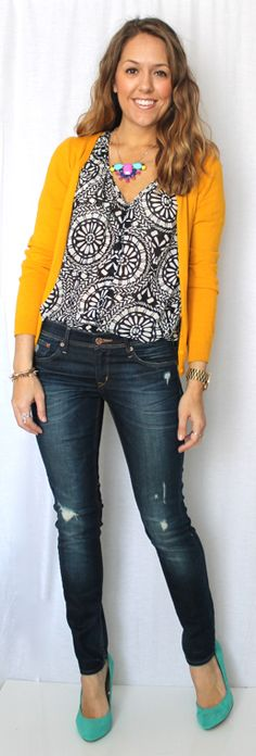 I like the print blouse with a bold color cardigan, but just not yellow