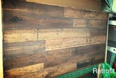 Wonky Pallet Reclaimed multi stain Headboard w/ by PoppetsandMoon. Color and staggering inspiration for pallet top on kitchen island