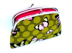 Sage green large coin purse with 2 compartments in butterfly fabric and hot pink interior