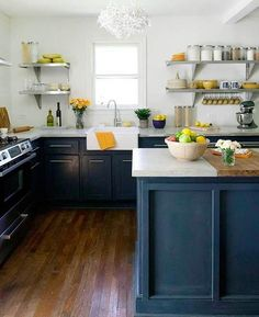 I Would Paint The Island Base And Cabinets This Deep Navy Color To Make It Look