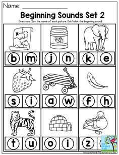 Beginning Sounds- Say the name of each picture and dot the beginning sound. Reading begins with mastering the phonetic sounds of the letters. Preschool Letters, Homeschool Kindergarten, Learning Letters, Alphabet Activities, Preschool Learning, Kindergarten Worksheets, Preschool Activities, Teaching Reading, Teaching Kids