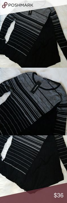 NWT Asymmetrical Sweater sz Small Color: Black and Gray Size : small Measures Approx  Shoulder to Hem: 30 inches Bust: 19 inches across 38 inches around Arms: 26 inches long Sweaters