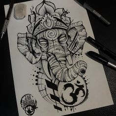 Ganesh, lord ganesh, elefante tattoo, drawing, tattoo, elephant, elephant drawn, blackwork