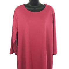 Modest-Dress-Plus-Size-1X-Appleseeds-Knit-Pink-3-4-Sleeves-Spring-Summer