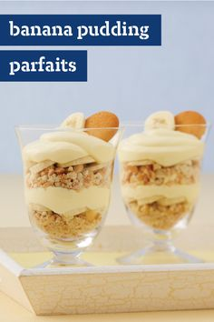 Banana Pudding Parfaits – Crushed vanilla wafers and sliced bananas do double duty as ingredients and decorative flair in this recipe for creamy pudding parfait desserts.