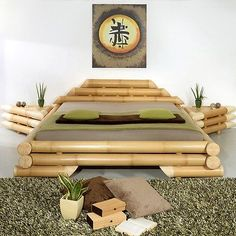 Diy Bamboo Bedroom Decor Ideas On A Budget 33 Bamboo Furniture, Mirrored Furniture, Furniture Design, Bamboo House Design, Bamboo Architecture, Bamboo Crafts, Home And Deco, Bed Design, Bedroom Decor