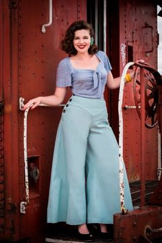 1930s Sale Sale Hey Sailor 1930s style wide leg pants GREEN woven twill Small to XXL $72.00 AT vintagedancer.com