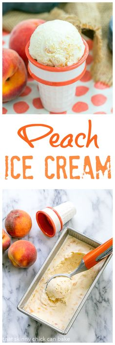 Peach Ice Cream | Sweet. luscious summer treat! @lizzydo