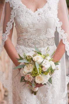 Soft romantic bridal bouquet. Roses, hydrangeas, lisianthus, eucalyptus greenery. By Marweddings