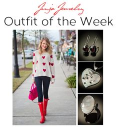 """OUTFIT OF THE WEEK! """"Be My Valentine"""" Pair a heart-patterned sweater with skinny jeans, tuck your jeans into red Hunter rain boots, and add a hot pink satchel. Jinja Jewelry Match: for this outfit we matched our red garnet earrings with a heart-shaped pendant and matching ring. 