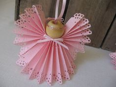 Angel Christmas Ornament U-Pick Trim Color Pink by SnowNoseCrafts
